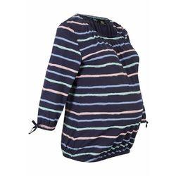 Shirt ciążowy z bawełny organicznej bonprix ciemnoniebieski w paski, w 6 rozmiarach