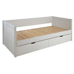 Kanapa z wysuwanym łóżkiem ALFIERO z szufladami - 2 × 90 × 190 cm - Lakierowane na biało