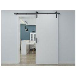 Zlicowane drzwi przesuwne varin – 205 × 83 cm (wys. × szer.) – mdf + pvc, kolor biały marki Vente-unique.pl
