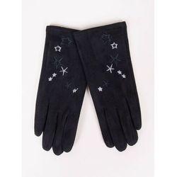 Rękawiczki dziewczęce zamszowe czarne haft w gwiazdki 21
