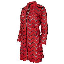 Alexandra Milano model 09 - ręcznie wykonany żakiet ze skóry naturalnej. Czerwony.