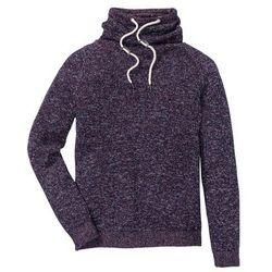 Sweter z szalowym kołnierzem Regular Fit bonprix ciemny lila melanż