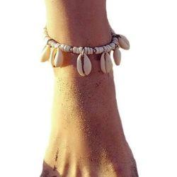 Bransoletka na nogę muszelki muszle biała - seashell