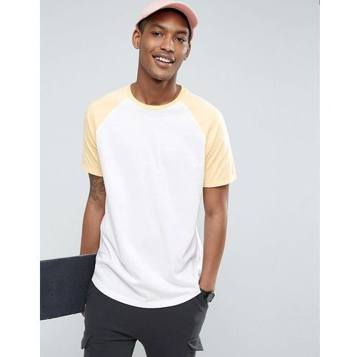 T-shirty męskie, ASOS Longline T-Shirt With Contrast Raglan And Curved Hem In White/Yellow - White