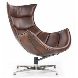 Skórzany fotel wypoczynkowy Lavos - brązowy