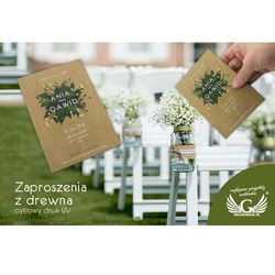 Zaproszenia ślubne z drewna - cyfrowy druk UV - ZAP023
