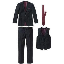 Garnitur 4-częściowy (marynarka, spodnie, kamizelka i krawat) bonprix czarno-bordowy