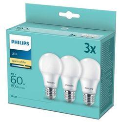 Philips E27 żarówka LED A60 8W 2 700 K 3 szt.