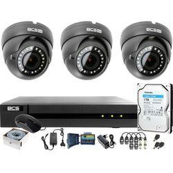 Monitoring po skrętce BCS Basic Full HD 2MPx 1TB H265+ 3 x Kamera kopułkowa 2.8-12mm IR 40m