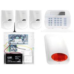 ZA12537 Zestaw alarmowy DSC 3x Czujnik ruchu Manipulator LCD Powiadomienie GSM