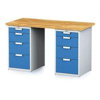 Stoły warsztatowe, Stół warsztatowy MECHANIC, 1500x700x880 mm, 2x 4 szufladowy kontener, szary/niebieski