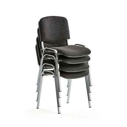 Fotele i krzesła biurowe, Krzesło konferencyjne NELSON, 4 szt., tkanina, szary, chrom