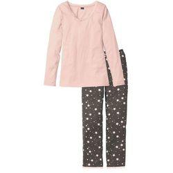Piżama bonprix pastelowy jasnoróżowy - dymny różowy w paski