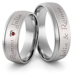 Obrączki ślubne z białego złota niklowego z imionami i sercem z rubinem - Au-990