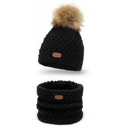 Komplet PaMaMi, czapka i komin - Czarny