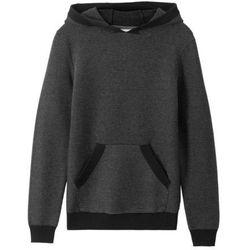 Sweter dzianinowy z kapturem bonprix czarno-szary