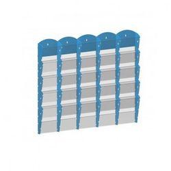 Plastikowy uchwyt ścienny na ulotki - 5x5 A5, niebieski