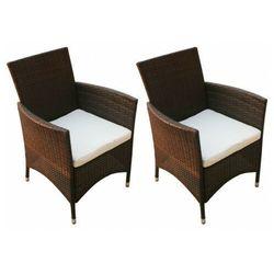 vidaXL Krzesła ogrodowe, 2 szt., polirattan, brązowe