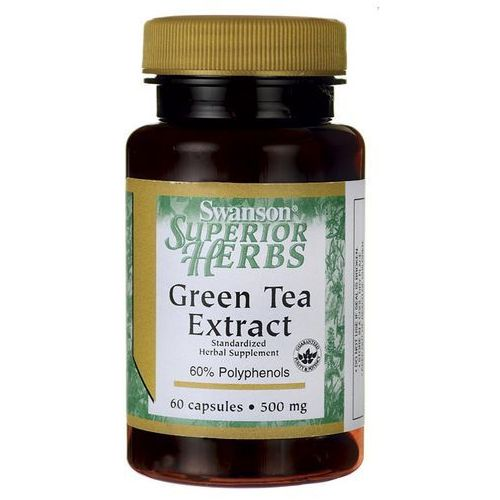 Detox i oczyszanie organizmu, Swanson Green Tea extract (Zielona herbata) 500mg 60 kaps.