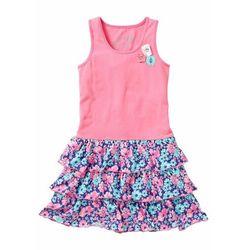Sukienka dziewczęca z falbanami bonprix jaskrawy jasnoróżowy z nadrukiem