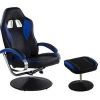 Fotele dla graczy, CZARNO NIEBIESKI FOTEL WYPOCZYNKOWY OBROTOWY DLA GRACZA PRZED TV - Czarno - niebieski