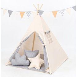 MAMO-TATO Namiot TIPI DUŻY z matą i poduszkami Beż / mini gwiazdki białe na szarym