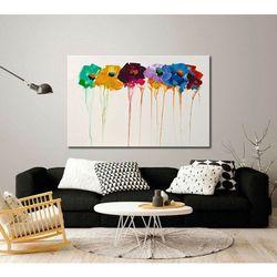 """""""fakturowane kwiaty"""" - nowoczesna abstrakcja z kwiatami na płótnie rabat 15%"""