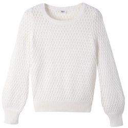 Lekki sweter dzianinowy w strukturalny wzór bonprix biały