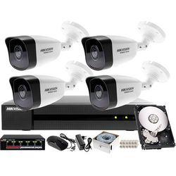 Monitoring zewnętrzny, wewnętrzny domu jednorodzinnego Hikvision Hiwatch Rejestrator IP HWN-4108MH + 4x Kamera FullHD HWI-B120 + Akcesoria