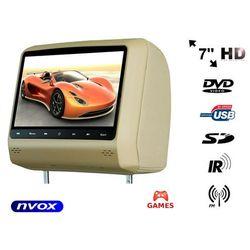 """NVOX HVR7023D BE Zagłówek multimedialny z ekranem 7"""" w rozdzielczości HD z DVD GRAMI USB SD"""