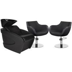Zestaw Mebli Fryzjerskich Myjnia Vanity Z Czarną Misą + 2 Fotele Thomas Czarne