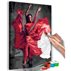 Obraz do samodzielnego malowania - czerwona suknia marki Artgeist