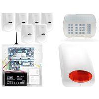 Zestawy alarmowe, ZA12544 Zestaw alarmowy DSC 6x Czujnik ruchu Manipulator LED Powiadomienie GSM
