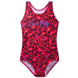 Kostium kąpielowy dziewczęcy bonprix różowo-lila z nadrukiem