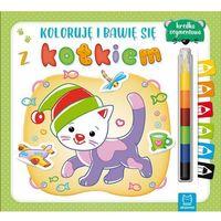 Książki dla dzieci, Koloruję i bawię się z kotkiem. Edukacyjna książeczka z naklejkami (opr. miękka)