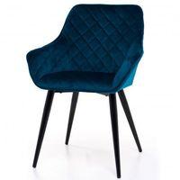 Krzesła, FOTEL KRZESŁO WELUR AKSAMIT GT-8243 NIEBIESKI