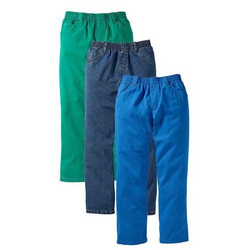 """Spodnie dziecięce, Luźniejsze spodnie chłopięce z gumką w talii (3 pary w opak.) bonprix lazurowy + zielona papryka + niebieski """"stone"""