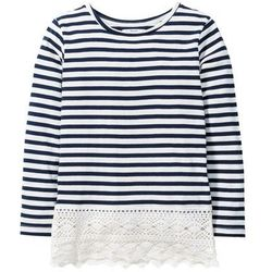 Shirt z długim rękawem w paski, z koronkowym dołem bonprix ciemnoniebiesko-biel wełny w paski