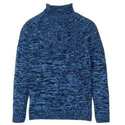 Sweter z golfem i wzorem w warkocze bonprix ciemnoniebiesko-niebieski melanż