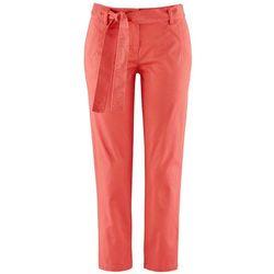 Spodnie ze stretchem 7/8 z wiązanym paskiem bonprix koralowy