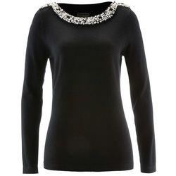 Sweter Premium z aplikacją z perełek bonprix czarny