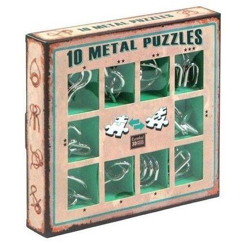 Gry dla dzieci, Łamigłówki metalowe 10 sztuk zestaw zielony