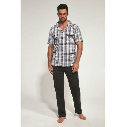 Piżamy męskie, Rozpinana bawełniana piżama męska Cornette 318/37 grafitowa