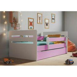 Łóżko dla dziecka, barierka ochronna, tomi, różowy, biały, mat