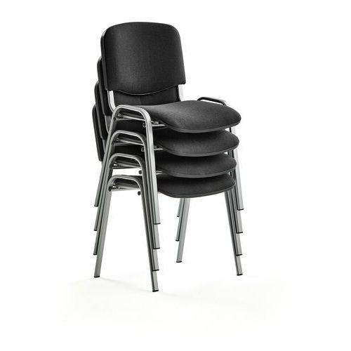 Fotele i krzesła biurowe, Krzesło konferencyjne NELSON, 4 szt., tkanina, czarny, szary