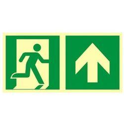 znak kierunek do wyjścia ewakuacyjnego w górę (prawostronny)