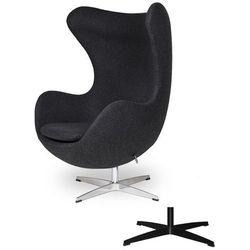 Fotel Jajo EGG CLASSIC - 3 kolory nóżek - wełna - Grafitowy ciemny szary