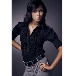 Nife Urocza koszula z żabotem - krótki rękaw - czarny - K02