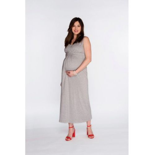 Sukienki ciążowe, Sukienka ciążowa maxi Szara 5O34RR Oferta ważna tylko do 2031-05-21
