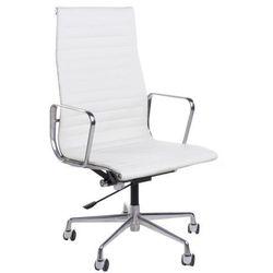 Fotel biurowy CH1191 inspirowany EA119 skóra, chrom - biały